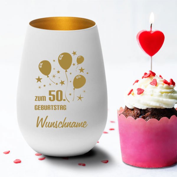 Personalisiertes Windlicht zum 50. Geburtstag -Luftballon mit Deinem Wunschnamen