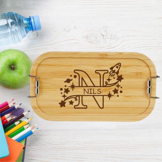 personalisierte Brotdose Kinder Lunchbox Metall mit Holzdeckel Monogramm für Jungen