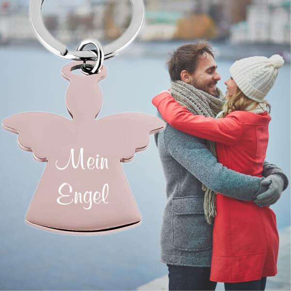 Edelstahl-Schlüsselanhänger Engel mit Gravur rosegold