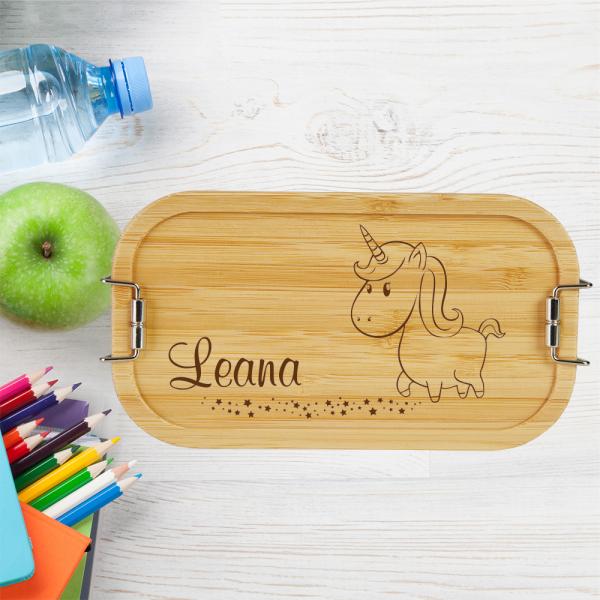 personalisierte Brotdose Kinder Lunchbox Metall mit Holzdeckel Einhorn