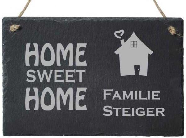 Türschild Schiefer mit Deinem Familiennamen HOME SWEET HOME
