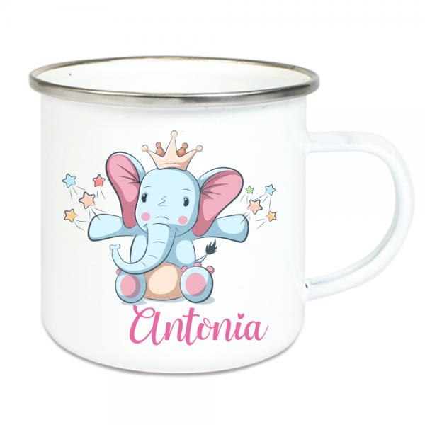 Emaille Tasse Kinder mit Deinem Namen - Elefant mit Krone