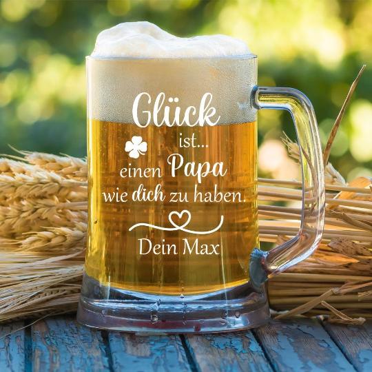 personalisierter Bierkrug  Glück ist einen Papa