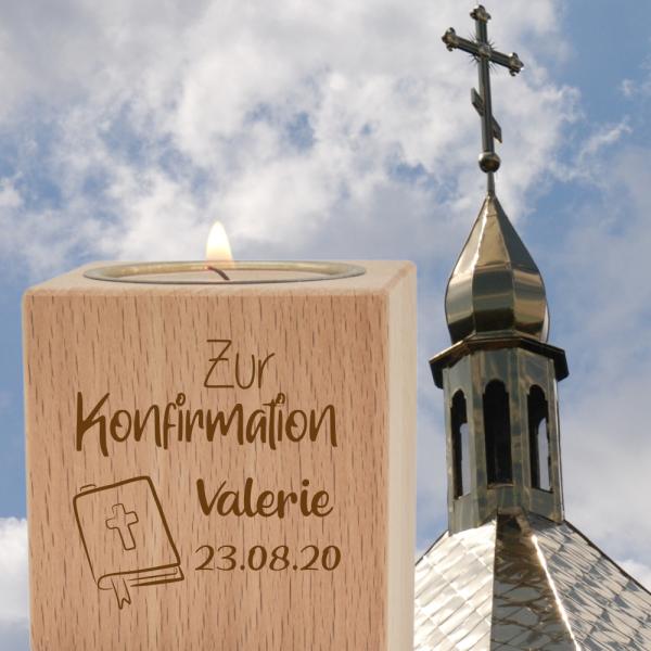 Teelichthalter mit Gravur klein - Konfirmation Gesangbuch