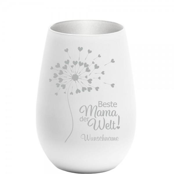 Windlicht mit Gravur Beste Mama weiss-silber