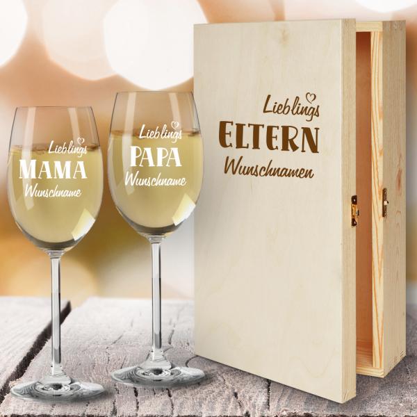Geschenkbox Weißweingläser von Leonardo mit Gravur Lieblings-Eltern