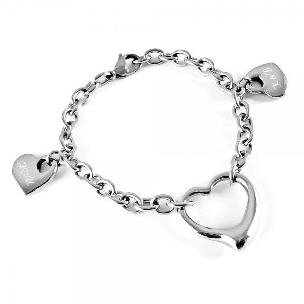 Trendgravur Armband mit 2 massiven Herzanhängern