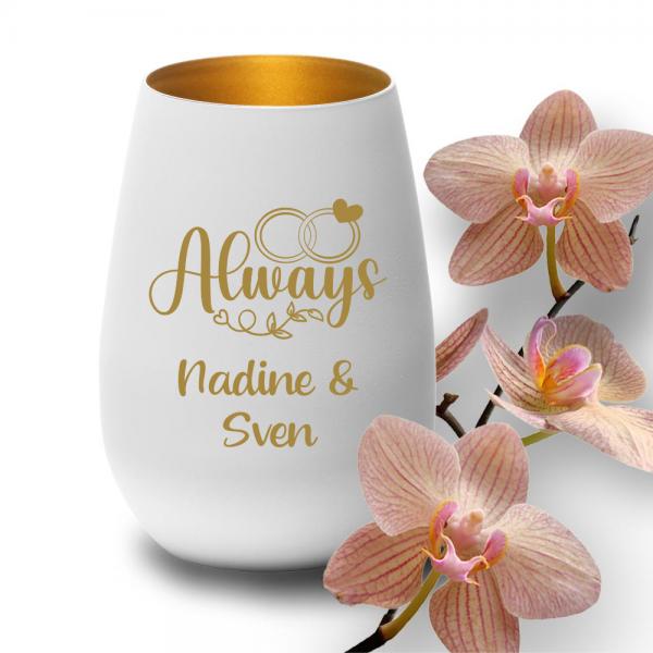 Windlicht mit Deinen Wunschnamen zur Hochzeit in weiss-gold -Always
