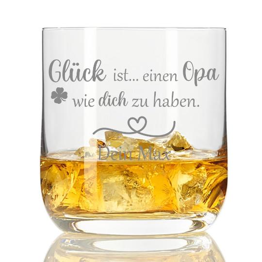 Whiskyglas mit Gravur Glück ist einen Opa wie dich zu haben mit Wunschnamen