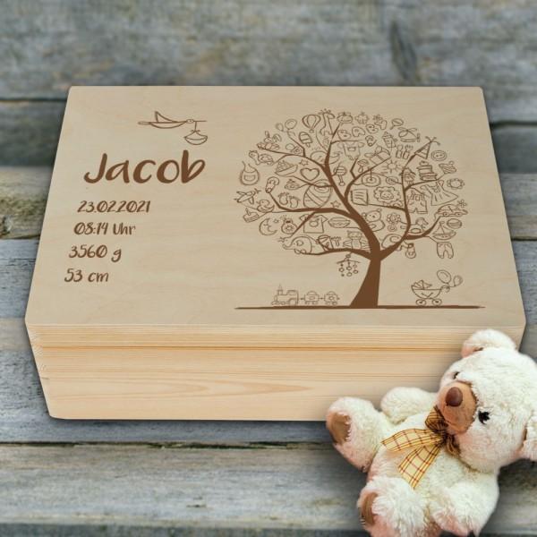 Personalisierte Erinnerungsbox Babybaum mit Wunschnamen