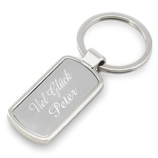 Schlüsselanhänger silber mit Gravur classic