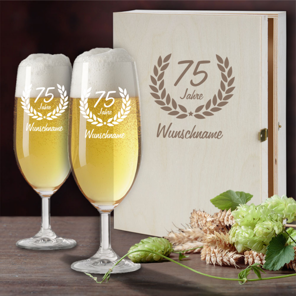 Bierglas Geschenkset mit schöner Holzkiste zum 75. Geburtstag