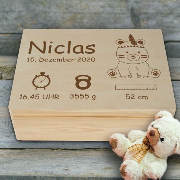Personalisierte Erinnerungsbox Teddy mit Wunschnamen zur Geburt