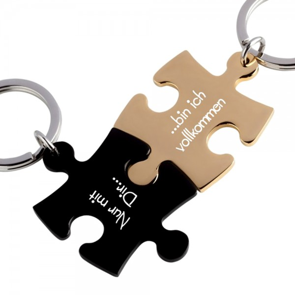 Trendgravur Partner-Schlüsselanhänger mit Gravur Puzzle schwarz gold