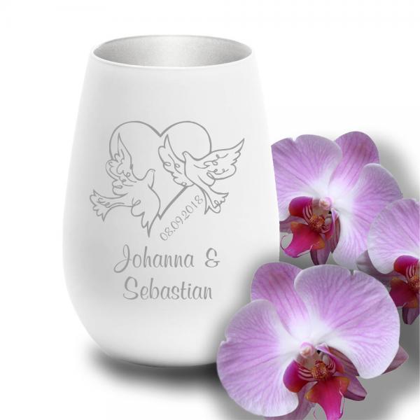 personalisiertes Windlicht zur Hochzeit - Motiv Tauben