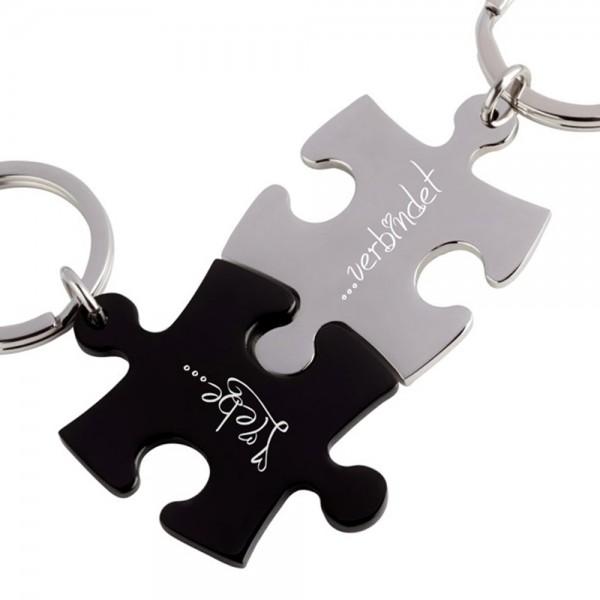 Trendgravur Partner-Schlüsselanhänger mit Gravur Puzzle silber schwarz