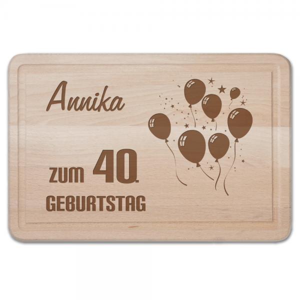 Schneidebrett mit Gravur - Zum 40. Geburtstag-Luftballons
