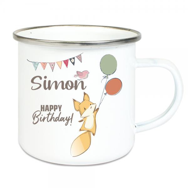 Emaille Tasse für Kinder mit Deinem Namen - zum Geburtstag - Motiv Fuchs