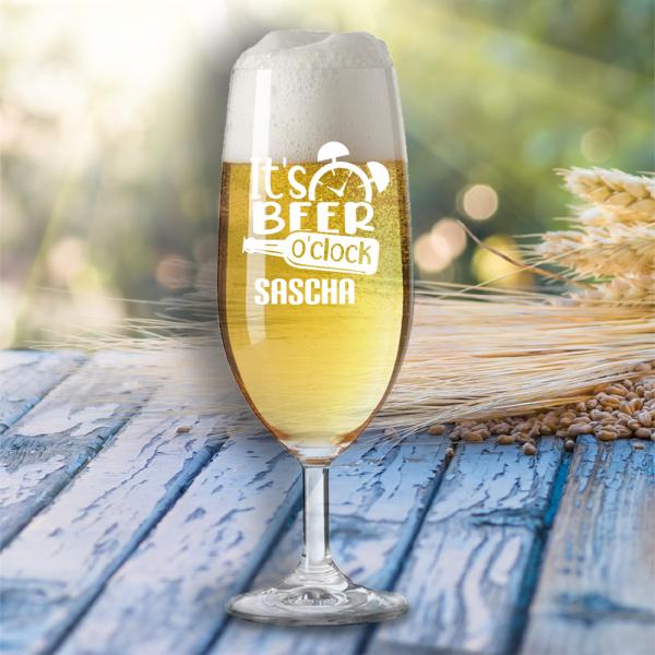 """Bierglas """"It´s beer o´clock"""" mit Wunschnamen"""