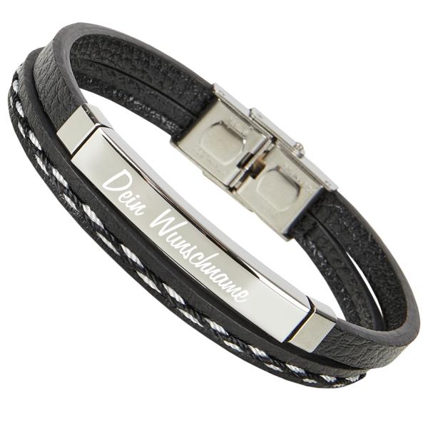 Leder-Armband mit Gravur schwarz mit Ziernähten
