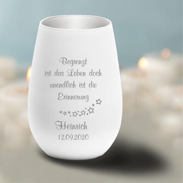 Personalisiertes Windlicht Erinnerungslicht -Begrenzt ist das Leben