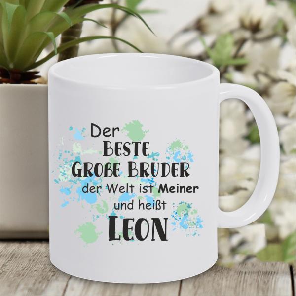 personalisierte Tasse bester großer Bruder mit Namen