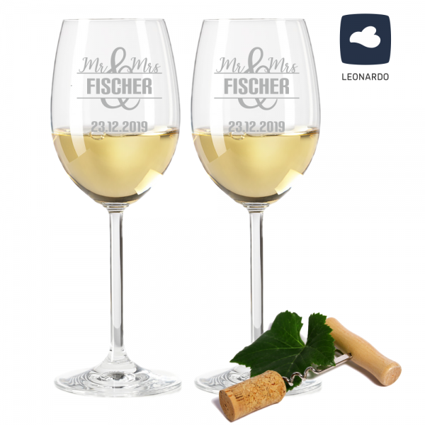 Weißweinglas-Set Mr. & Mrs. mit Deinen Wunschnamen + Datum