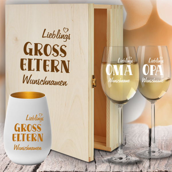 Geschenkbox Weißweingläser von Leonardo mit Windlicht für Deine Lieblings-Großeltern
