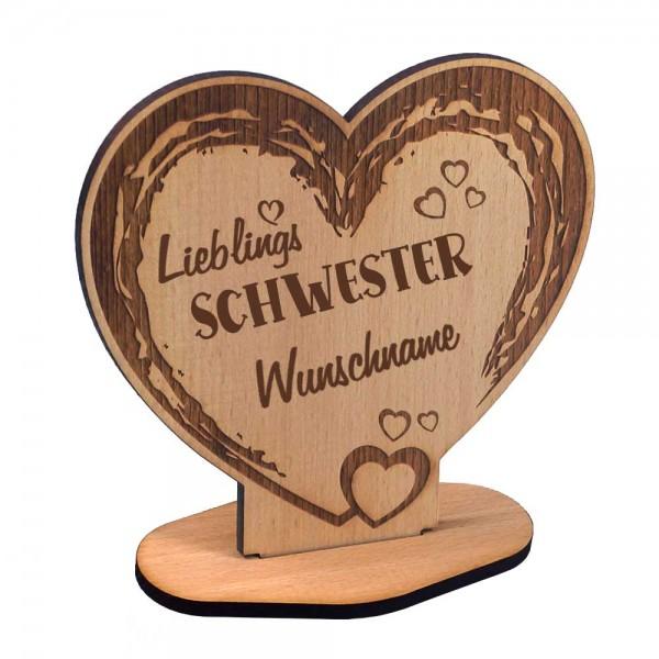 Holz-Aufsteller in Herzform mit Gravur Lieblings-Schwester