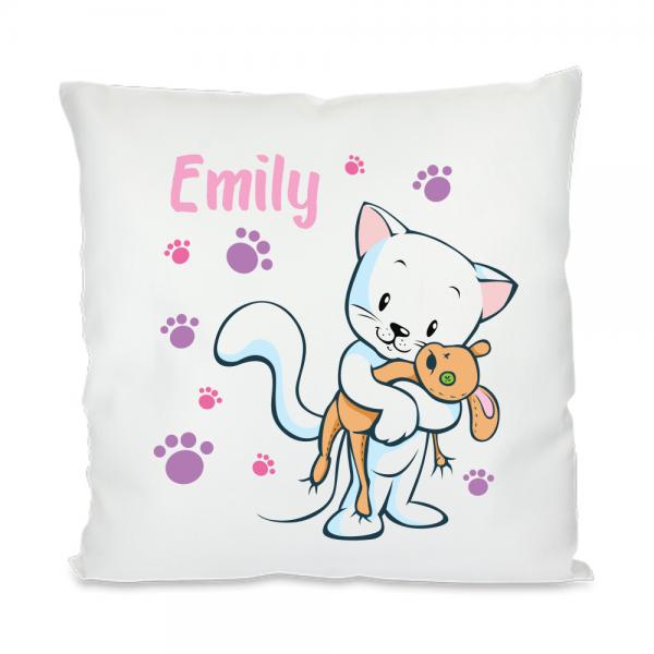 Namenskissen für Mädchen - Schmuse-Katze