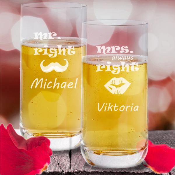 Trinkglas Partnerset Mr & Mrs mit Wunschnamen