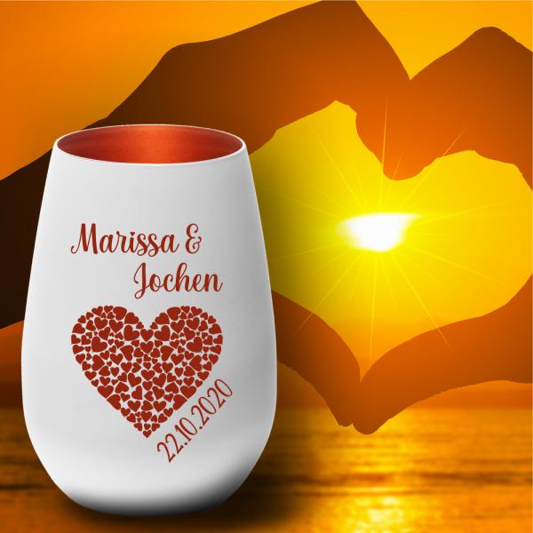 Windlicht zum Valentinstag - Herz - mit Deinen Wunschnamen und Deinem Wunschdatum