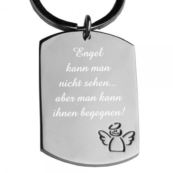 Edelstahl-Schlüsselanhänger mit Gravur Dog-Tag Engel