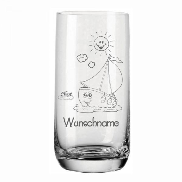 Trinkglas für Kinder mit Namen von Leonardo - Schiff