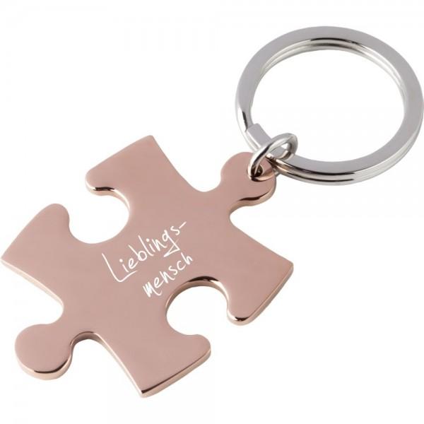 Edelstahl-Schlüsselanhänger mit Gravur Puzzle rosegold