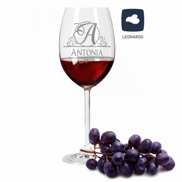 Rotweinglas Leonardo mit Deinem Wunschnamen - Monogramm