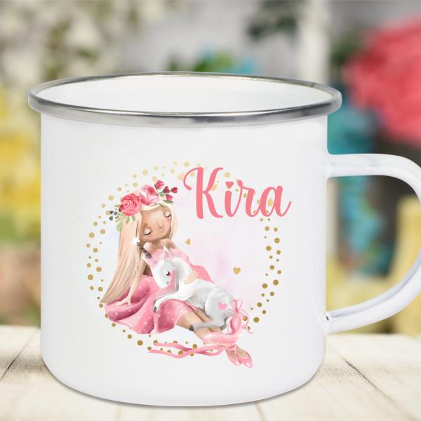 Emaille Tasse Kinder mit Deinem Namen -Prinzessin mit Einhorn