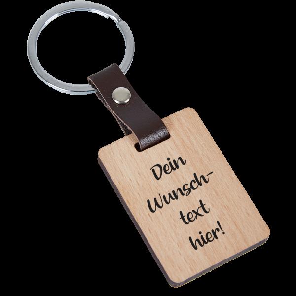 Holz-Schlüsselanhänger mit Deinem Wunschtext-Buche