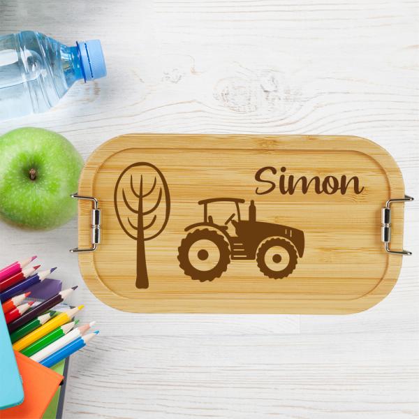 personalisierte Brotdose für Kinder Traktor mit Wunschnamen