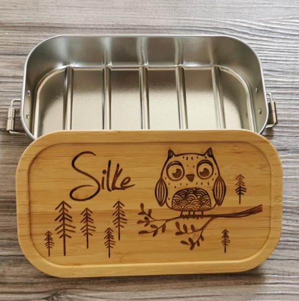 Kinder-Brotdose Lunchbox Metall mit Holzdeckel Eule