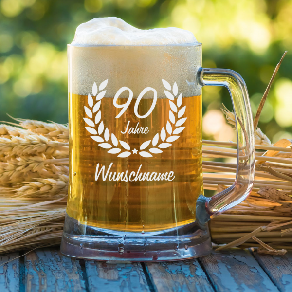 Personalisierter Bierkrug zum 90. Geburtstag 0,5 l