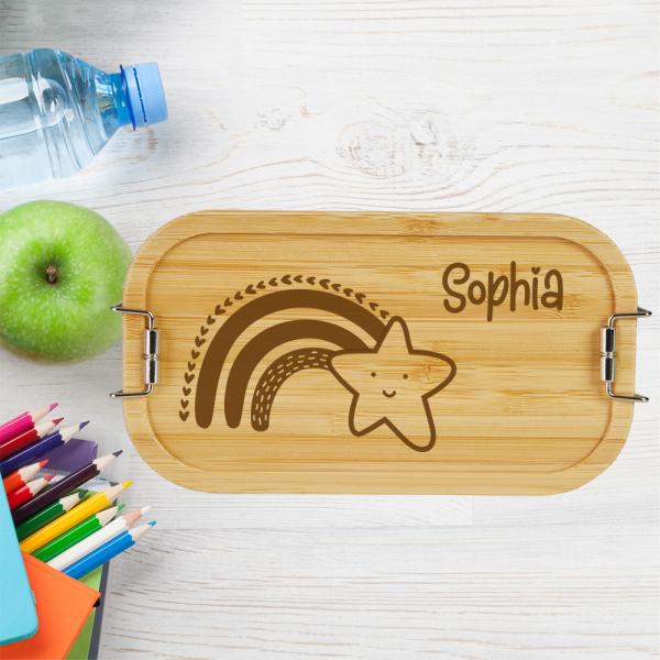personalisierte Brotdose Lunchbox Bambus Regenbogen Stern