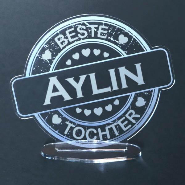 """Acryl-Button mit Namensgravur """"Beste Tochter"""""""