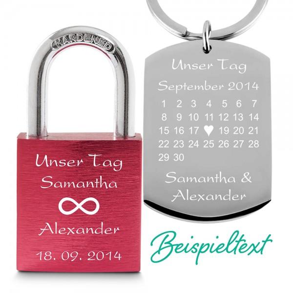 Partner-Set Liebesschloss rot + Schlüsselanhänger Kalender
