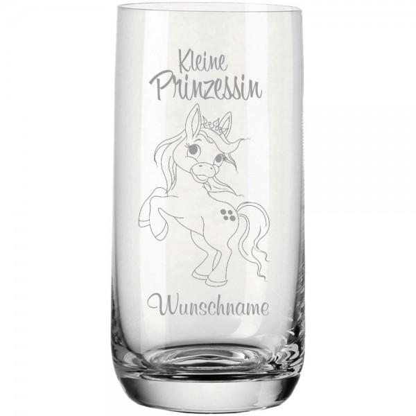 """Trinkglas """"Kleine Prinzessin"""" mit Name- Pony"""