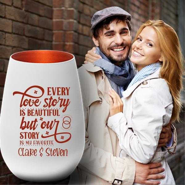 Windlicht zum Valentinstag - Lovestory - mit Deinen Wunschnamen jetzt NEU und online bestellen