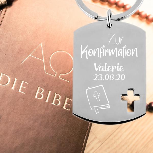 Edelstahl Schlüsselanhänger mit Gravur Dog-Tag zur Konfirmation Gesangbuch
