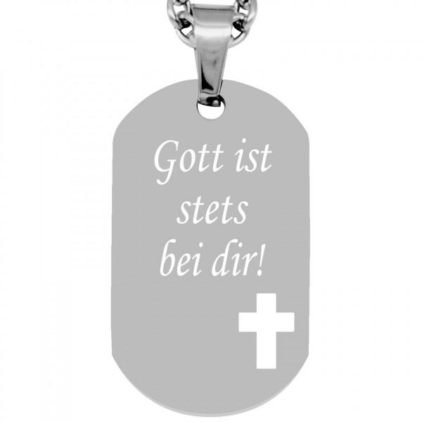 Anhänger Dogtag - Kreuz - silber