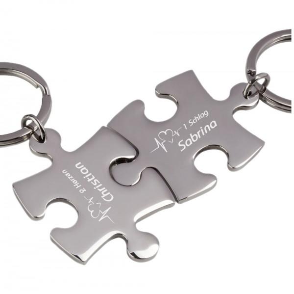 Partner-Schlüsselanhänger mit Gravur Puzzle Heartbeat silber