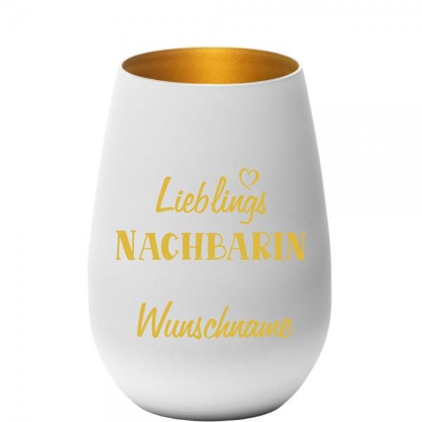 """Deko-Windlicht """"Lieblings-Nachbarin"""" mit Wunschnamen in weiss-gold"""